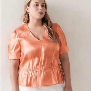 Addition elle crepe satin peach shirt
